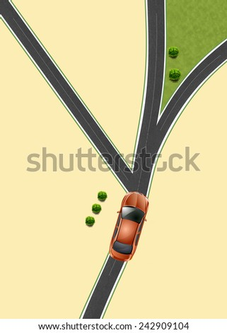 vector car  road scheme road junction rules of the road pointer transport traffic motion move transportation  - stock photo