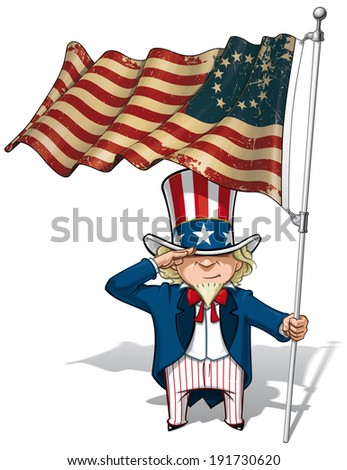 Vector Cartoon Illustration of Uncle Sam saluting and holding a Betsy Ross textured, aged American flag. - stock photo