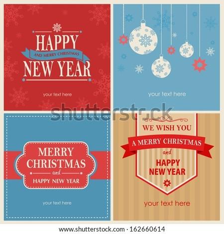 vector celebration cards with xmas symbols  - stock photo