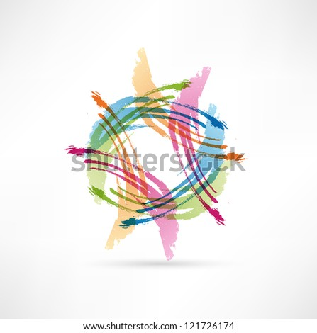 Vector Color Brush Strokes. Abstract symbol. - stock photo