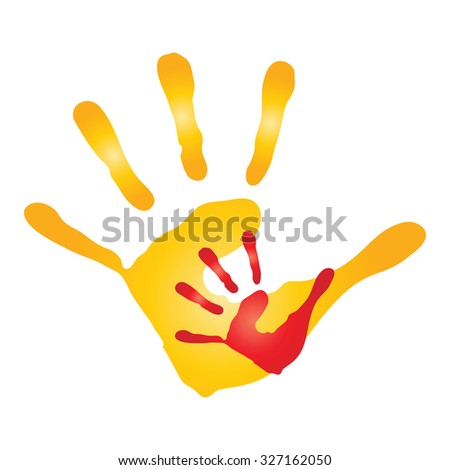 Vector concept human or mother and child hand prints painted, isolated on white background for art, care, childhood, family, fun, happy, infant, symbol, kid, little, love, mom, motherhood young - stock photo