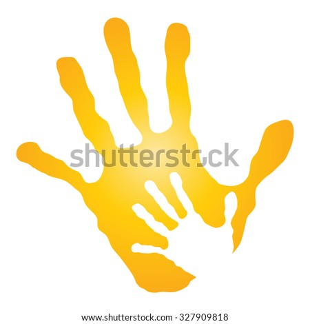 Vector concept human or mother and child hand prints painted, isolated on white background for art, care, childhood, family, fun, happy, infant, symbol, kid, little, love, mom, motherhood young design - stock photo