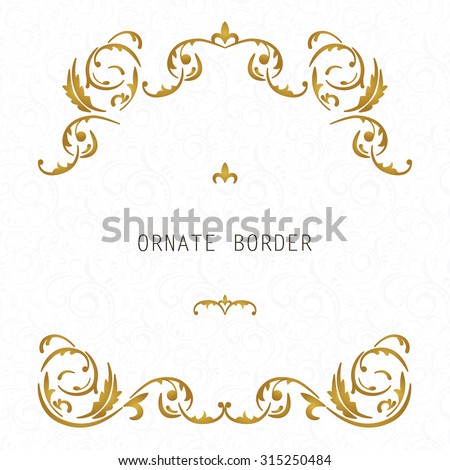 Vector decorative frame. Elegant element for design template, place for text.Floral border. Lace decor for birthday and greeting card, wedding invitation. - stock photo