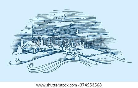 vector doodle dandelion Vintage sketch. Eps-8 - stock photo
