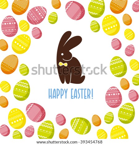 Vector easter simple flat illustration. Holiday card design, colorful easter patterned eggs, chocolate rabbit or hare cute funny friendly character. Hand drawn text message, lettering, congratulation. - stock photo