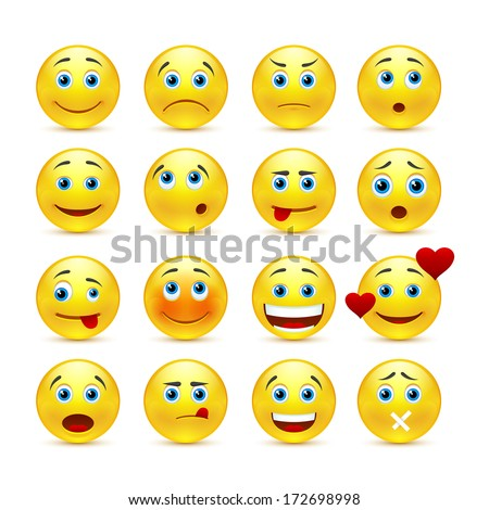 Vector emotional face icons - stock photo