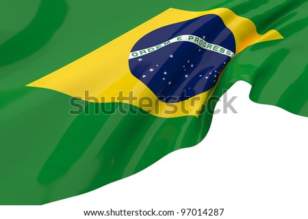 Vector Flags of Brazil - stock photo