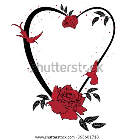 vector frame with roses and hummingbird in black and red colors - stock photo