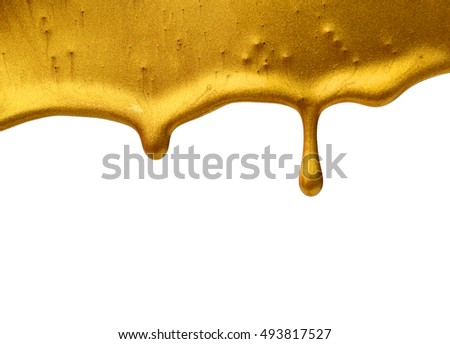 Vector gold paint smear stroke stain. Abstract gold textured illustration. Isolated On White Background