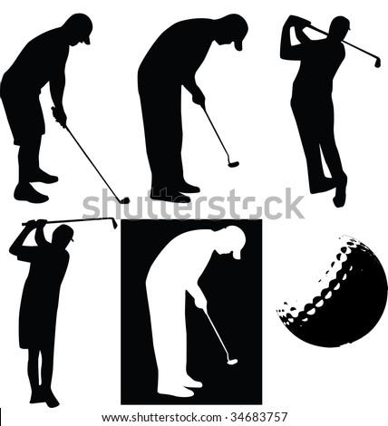 vector golfer set on white isolated background - stock photo