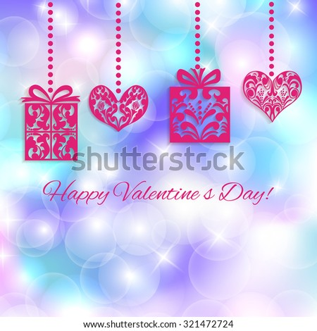 Vector Happy Valentine's Day card design. Congratulations lettering and Gifts and Hearts on a abstract blue bokeh  background with lights. Perfect as invitation or announcement. - stock photo