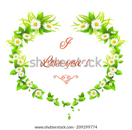 Vector heart shaped floral frame with place for text. Raster version. - stock photo