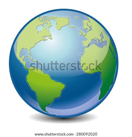 Vector icon of Earth with highlight, isolated on background. - stock photo