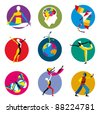 Vector icons for human development activities inside colored circles - stock photo
