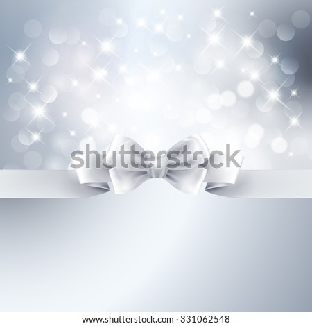Vector  illustration Abstract silver light background with white ribbon - stock photo