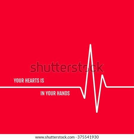 vector illustration cardio sign icon red background - stock photo