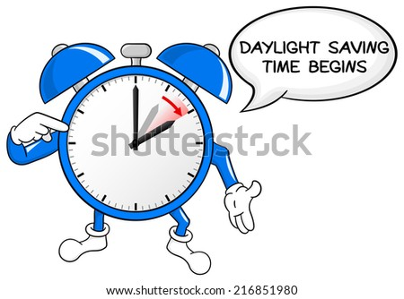 vector illustration of a alarm clock switch to summer time  daylight saving time begins - stock photo