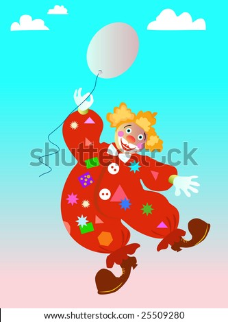 Vector illustration of a clown with a ball