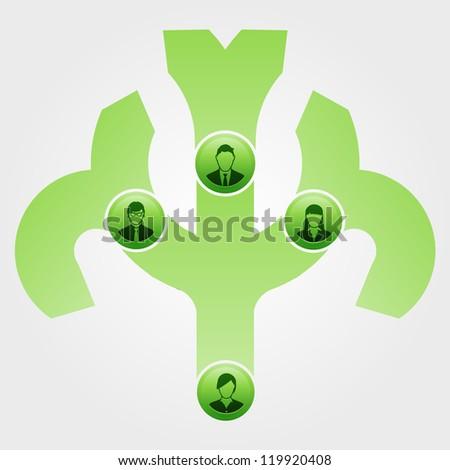 Vector Illustration of a green eco organizational tree - stock photo