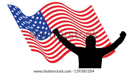 Vector illustration of a man that is raising his arms up in front of american flag celebrating the Independence Day