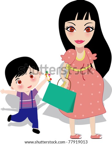 Vector illustration of a Pregnant mother with a boy, colourful family characters