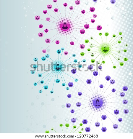 Vector Illustration of a social network as an abstract background. EPS 10 with no transparencies. - stock photo