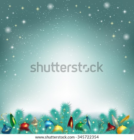 Vector illustration of Christmas tree toys, liashyk on the fir tree branches, Christmas background, greeting card. - stock photo