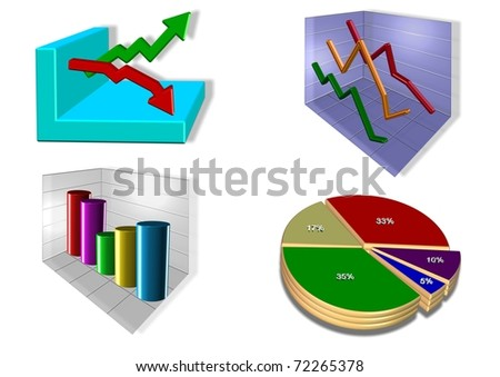 vector illustration of 4 different 3d chart designs / Charts / charts