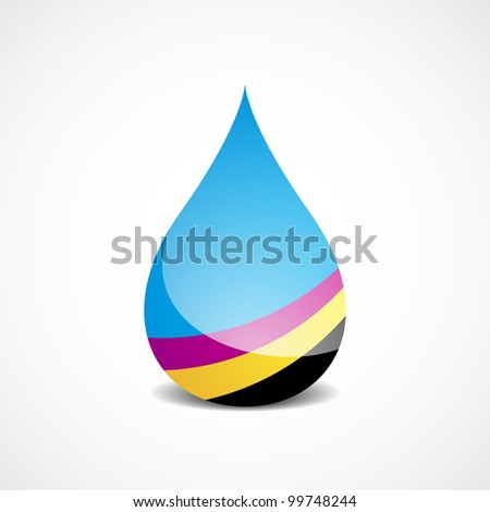 Vector Illustration of Drop With Offset Printing Colors (bitmap version) - stock photo