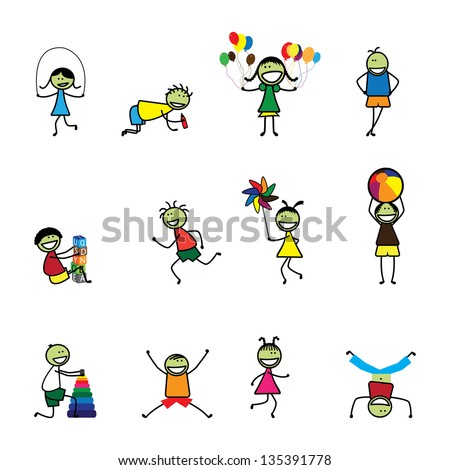 Vector Illustration of kids(children) playing and having fun at school. The girls and boys are skipping, playing ball and balloons, running, jumping, alphabet blocks, and other fun activities - stock photo