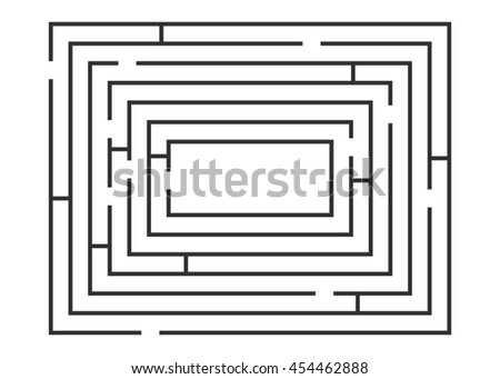 Vector illustration of maze / labyrinth on white background. - stock photo