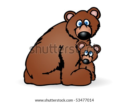 Vector illustration of mother and baby bear  - Isolated on a white background