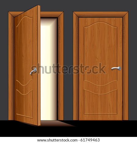 vector Illustration of opened and closed classic wooden door only simply colors used (similar version vector id=61748365) - stock photo