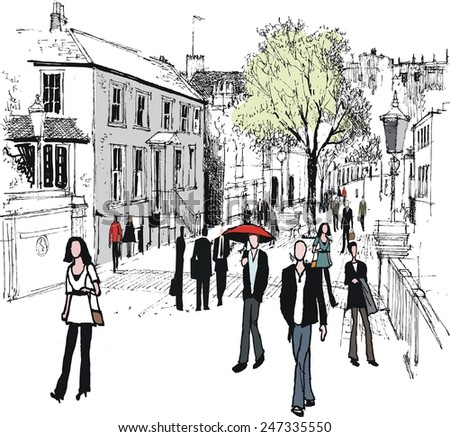 Vector illustration of pedestrians and old buildings, Windsor England - stock photo