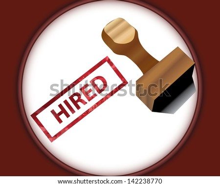 Vector illustration of stamp and hired written beside it - concept of landing a job - stock photo