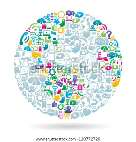 Vector Illustration of the globe made with social media icons. EPS 10 with no transparencies.