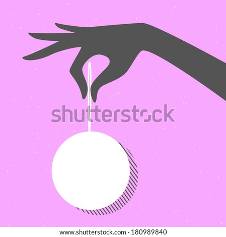 Vector illustration of Woman hand with ball