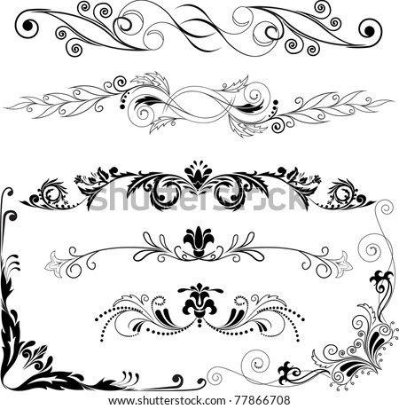 Vector illustration:  set of decorative horizontal and angular elements for design - stock photo