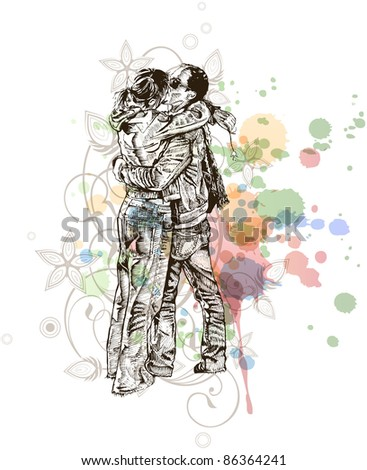 Vector illustration: Two lovers kissing & floral calligraphy ornament - a stylized orchid & color paint background. Bitmap copy my vector ID 70775563 - stock photo