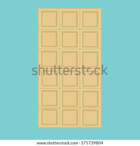 Vector illustration white, milk chocolate bar isolated on blue background. Chocolate bar icon - stock photo