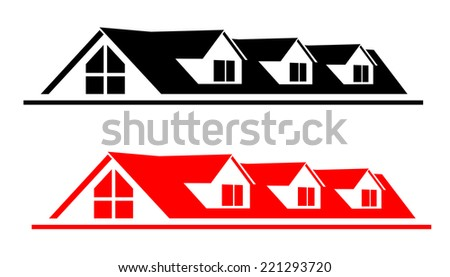 Vector image of a house roof. Black and red roof of the house. Roof of the house for company logo.