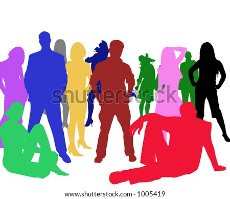 vector image of multicolored people