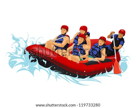 vector image of rafting - stock photo