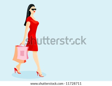 vector image of woman after shopping