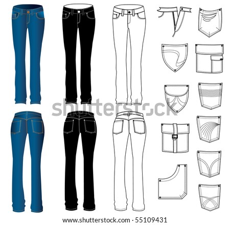Vector jeans for women. Rasterized vector - stock photo