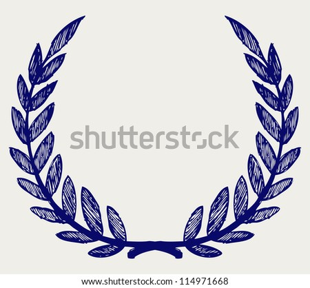 Vector laurel wreath. Doodle style. Raster version - stock photo