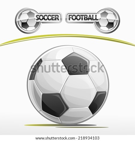 Vector logo for a football soccer ball isolated closeup on white background, emblem for football club - white-black ball