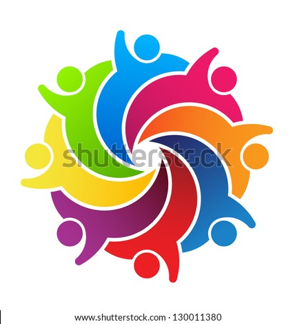 Vector Logo Social Friends. Group 8 People - stock photo