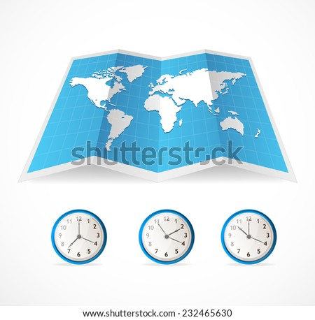 Vector map icon and world time clocks illustration  - stock photo