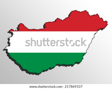 Vector map with the flag inside - Hungary